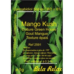 Sachet de fleurs mango kush pour fumer chez soi.